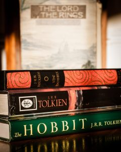 Photo of J. R. R. Tolkien books.