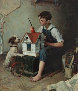 """Norman Rockwell painting, """"Painting the Little House."""""""