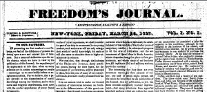 """Image of the first issue of """"Freedom's Journal."""""""