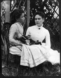 Photo of Anne Sullivan and Helen Keller.