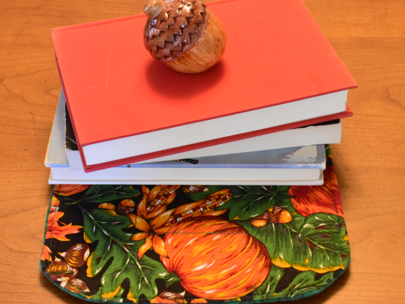 Photo of Thanksgiving books laying on a table.