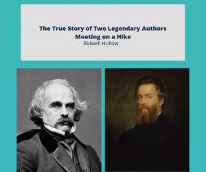 """Nathaniel Hawthorne and Herman Melville below the text, """"The True Story of Two Legendary Authors Meeting on a Hike."""""""