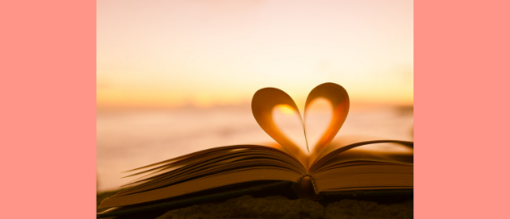 Pages of a book shaped into a heart.
