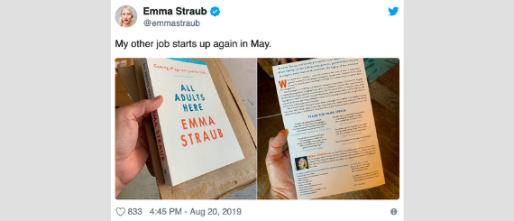 Tweet from Emma Straub showing her holding a copy of her upcoming novel, All Adults Here.