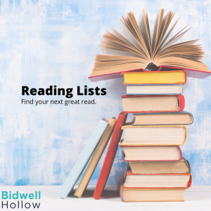 A stack of books next to the words, Reading List: Find your next great read.