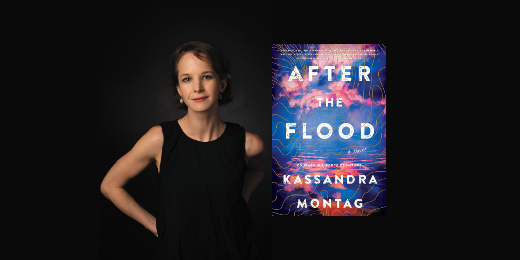 Kassandra Montag and the cover of her novel, After the Flood