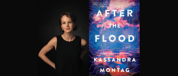 Kassandra Montag and a cover of her novel, After the Flood