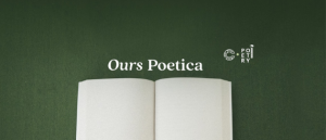 Blank pages of an open book below the title Ours Poetica, the name of a new poetry video series.