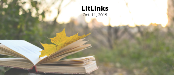 An open book with a yellow leaf resting on its pages and the words, LitLinks Oct. 11, 2019.