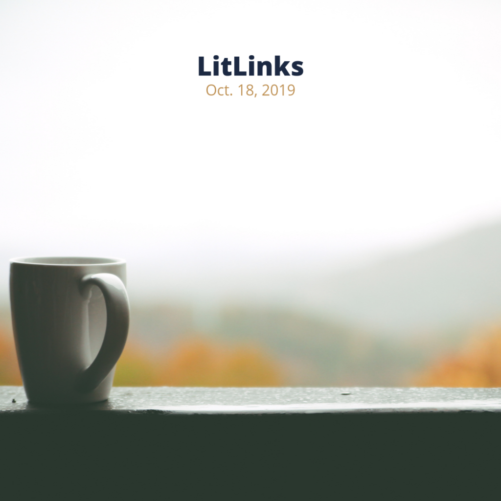 Coffee mug sitting on a window sill with trees in fall leaves in the background and the words, LitLinks Oct. 18, 2019.