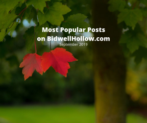 Two red maple leafs on a tree beneath the words, Most Popular Posts on BidwellHollow.com, September 2019.