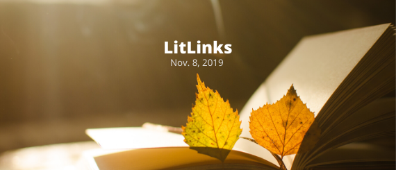 """Two yellow leaves on the pages of an open book and these words: """"LitLinks, Nov. 8, 2019."""""""