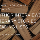 """Stack of books and the text, """"Bidwell Hollow is growing. Author interviews, literary stories, reading lists, starting Nov. 18, 2019."""""""